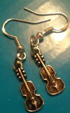 Antique Drop Dangle Silver Tone Violin Earrings/Sterling Silver Hook US Seller!