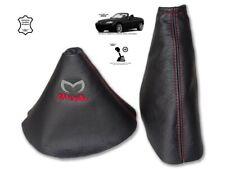 Gear & Handbrake Gaiter For Mazda MX5 MK3 2 Panels Leather Logo Red