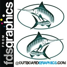 Pair of full colour Bayliner Trophy Marlin stickers/decals (green)