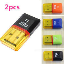 2Pcs USB 2.0 Micro SD SDHC TF Flash Memory Card Reader Mini Adapter Fr Laptop PC