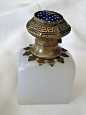 Victorian Snuff Bottle Cologne Bottle Opaline Clam Broth Glass Hinged Enamel Top