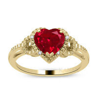 1.00 Ct Heart Shaped Ruby & Natural Diamond Engagement Ring 14k Yellow Gold