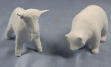 Bulle und Bär symbol börse bisquit Porzellanfigur figur porzellan stier