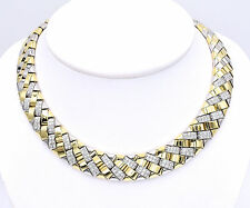 5ct Diamond And 18K Two Tone Gold Checker Necklace, Substantial Statement Piece