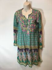 Raj Women's Embroidered Swim Cover-up Dress Side Slit Cotton Size Small