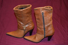 Brown soft leather women boots,made in Romania.