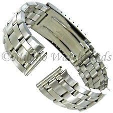 18mm Hirsch Silver Stainless Steel Straight End Security Clasp Watch Band 5712