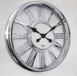 Chrome Frame  Clear Glass Large Roman Numeral Wall Clock Kitchen Office 40cm
