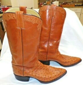 CUSTOM MADE SIGNED JULI STUTTO SOFT LEATHER OSTRICH COWBOY BOOTS 10.5 GMP MONO