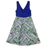 HD In Paris Anthropologie Ardmore Blue Green Geometric Sleeveless A-Line Dress 2