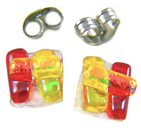 "DICHROIC GLASS EARRINGS Post Tiny 1/4"" 10mm Red Yellow Orange Rock Candy Fused"