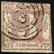 THURN UND TAXIS, 3 SILBERGROSCHEN, 1861, MICHEL # 17, RING CANCELLATION # 321