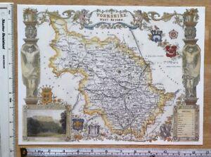 Old Antique Victorian map West South Yorkshire , England: c1830's Reprint Moule