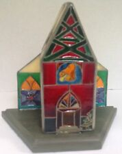 Votive candle holder acrylic stained glass church front - Christmas decor