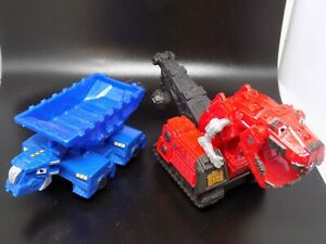 Mattel DINOTRUX Ty Rux & Ton Ton trucks w/ roller wheels 1/64 scale - EUC