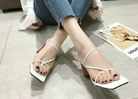 NEW square open toe thin strap heels tan mules s/s 2020 brand *select a size*