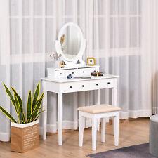 4-Drawer Dressing Table & Stool Set w/ Mirror Cushioned Seat Wood Legs White