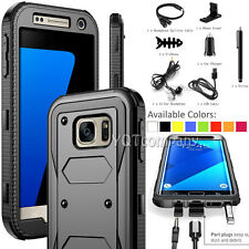 Shockproof Armor Hybrid Rubber Hard Phone Case Cover + Black Accessories Bundle