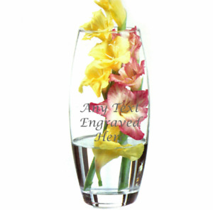 Personalised Large Bullet Glass Vase 26cm Tall