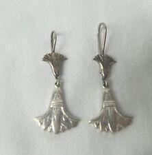 """Egyptian Sterling Silver Lotus Flower Handmade Earrings 1.75"""""""