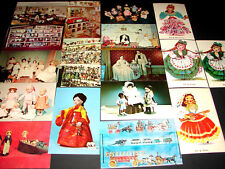 17 Vintage 1960-80 Postcards Dolls Dollhouse Toys Doll House Collectible Museum