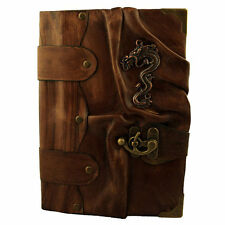 Handmade Real Leather Journal Diary Notebook Brown Bound Chinese Dragon Large