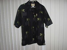 Men's Medium Hawaiian Black w/PalmTrees SS 100% Poly Microfiber by Coconut Pier
