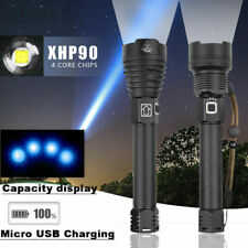 200000 Lumens LED Flashlight XHP90 Torch Rechargeable Waterproof Lamp Light