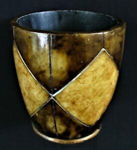 Vint~ENGRAVED~Bovine~HORN~Diamond Cut~TUMBLER~Brush~PEN HOLDER~Dice Cup~GOLD~EUC