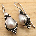 WHITE SEA WATER PEARL WELL MADE VINTAGE STYLE Earrings ! 925 Silver Plated NEW