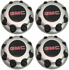 4 NEW GMC Sierra Savanna Yukon 2500 3500 Silver 8-lug Wheel Center Hub Caps set