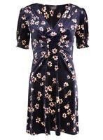 Brand New Ex Topshop Navy Floral Print Velvet Skater Dress Size 6-12