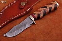 CUSTOM HAND FORGED DAMASCUS STEEL Hunting KNIFE W/ Wood Brass Guard HANDLE-Q 916