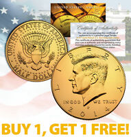 24K GOLD PLATED 2014 JFK Kennedy Half Dollar Coin w/Capsule * BUY 1 GET 1 * BOGO