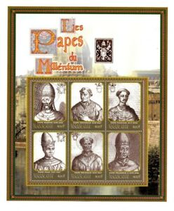 Togo - The Popes Of The Millennium - Sheet of Six Stamps - MNH