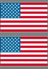 "Lot of 2 - 3"" x 5"" American Flag Patriotic USA U.S. Vinyl Bumper Sticker Decal"