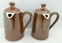 Royal Worcester Teapots 2 Individual Brown Shape 2 Size 4 Coffee Tea ENGLAND