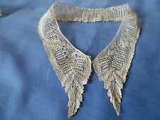Antique Handmade Brussels Net Lace Collar 1800s Fine Light Needle Lace