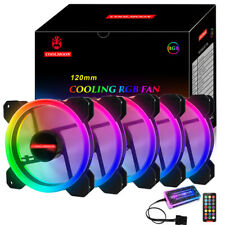 5 Pack RGB 120mm Computer PC Cooling Case Fan Quiet LED Halo Ring Light CPU Fans