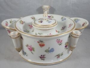 ANTIQUE UNMARKED PORCELAIN INKWELL w/ HANDPAINTED FLOWERS 5 PEN HOLDERS 2 BASINS