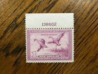 RW 5 1938 $1.00 Pintail Drake Duck Stamp, MNH, Plate Number