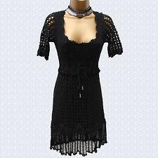 Karen Millen Black Vintage Style Hand Crochet Cocktail Tunic Mini Dress 1 UK-8