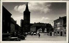 Jičín Tschechien Česká 1935 náměstí Oldtimer Autos Cars Turm věž Tower gelaufen