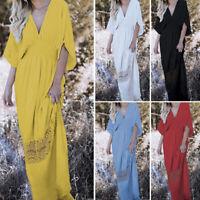 S-5XL Autumn Womens Long Maxi Dress Ladies Evening Cocktail Party Beach Sundress