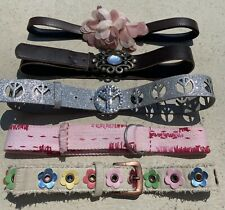 Girls 5 piece belt lot Size Small pink flowers silver peace brown adjustable EUC