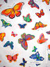 Butterflies Butterfly Multi Color Various Size White Cotton Fabric - 1.08 Yards