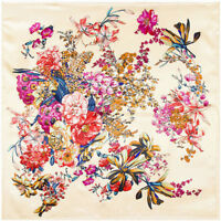 "Women's Beige Vintage Flower Printed Soft Satin Square Head Scarf Hijab 35""*35"""