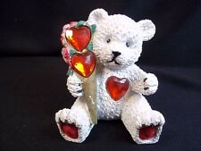 """Seated white resin Bear with 3 red gem hearts bunch of roses 2.75"""" tall"""