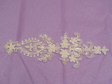 An Ivory bridal beaded lace Applique/ wedding gown floral lace motif.By piece