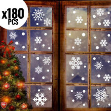 180 PCS Christmas Snowflake Window Stickers Clings Decoration~White Xmas Decals